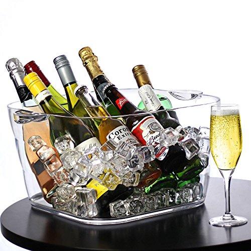 Grand seau à glace 22 Ltr de capacité, en Acrylique ,forme carré , ultra résistant .Seau à Champagne , Vin , Bière etc...