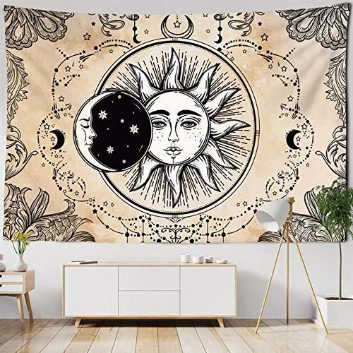 Tapiz de brujería Blanco Negro Sol Luna Mandala Celestial Colgante de Pared alfombras de Pared Hippie psicodélico Dormitorio decoración del hogar