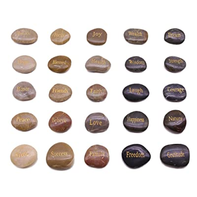 BigOtters Engraved Inspirational Stones,25 Diff...