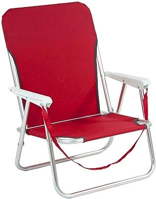 480510 Silla plegable de playa JOY SUMMER para camping piscina jardín - Rojo
