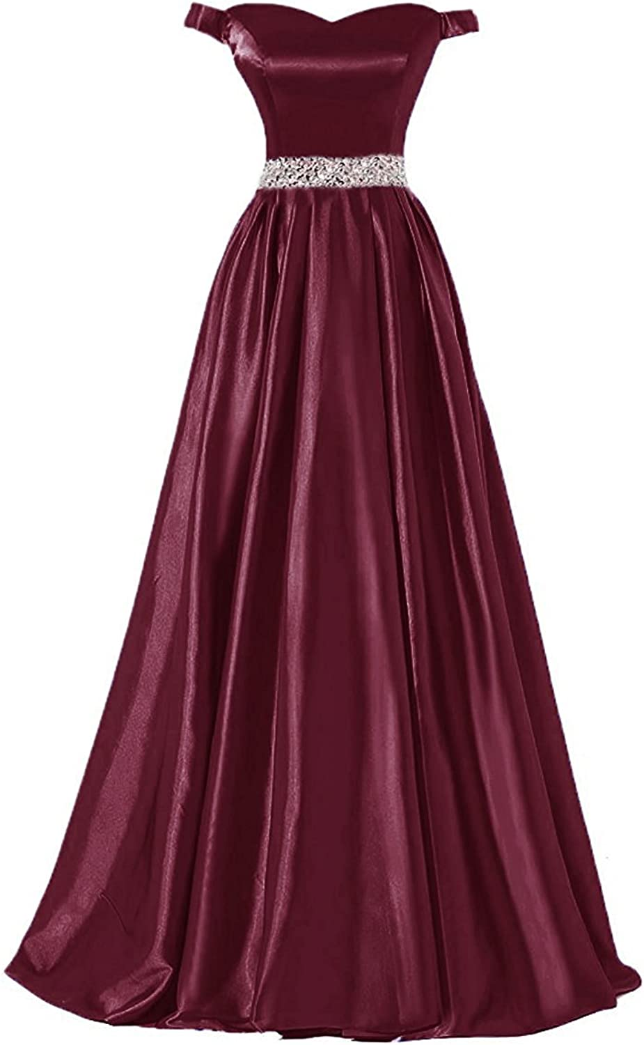Awishwill Women's Off Shoulder Cap Sleeve Sequines Long Satin Prom Evening Dress Sweetheart Formal Party Gown