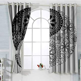 Gloria Johnson Ying Yangwindow decorFlower and Petals Art Themed in Style Cultural Floralwall curtainBlack and White55 x 63 inch
