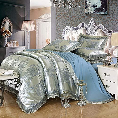 LMJ Outsider EIN Satin Satin Jacquard Jeans, Baumwolle Vier Geschenke Großhandel Hochzeit Suite Bettwäsche-Paket Nordic - Silber blau 2,0 m Bett Bettbezug 220 * 240 cm