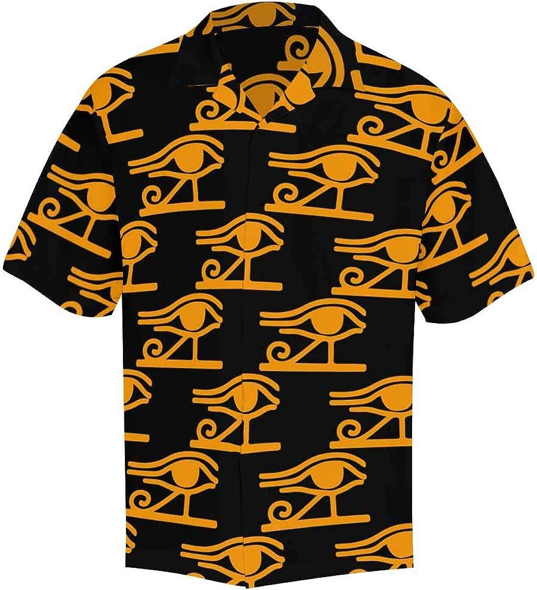 InterestPrint Men's Casual Button Down Short Sleeve Ethnic Tribal Paisley Hawaiian Shirt (S-5XL)