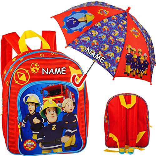 alles-meine.de GmbH 2 TLG. Set: Kinder Rucksack + Regenschirm - Feuerwehr & Feuerwehrmann Sam - inkl. Name - Tasche - beschichtet & wasserfest - Kinderrucksack / groß Kind - Jung..
