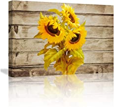 KALAWA Wall Art for Bedroom Sunflower Decor Wood Wall Art Sunflower Pictures on Wood Background Prints on Canvas Framed Rustic Wall Art for Office DecorationReady to Hang(24''W x 36''H)