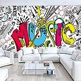 4D Tapeten Wandbilder,Modernes Persönlichkeit Cartoon Pop Art Graffiti Bunte Musik Buchstaben Groß Kunstdruck Wallpaper Poster Für Ktv Bar Hotel Hintergrund Einrichtung, 100 × 144, 250 Cm (H) X