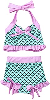iZHH Toddler Kids Baby Girls Swimsuit,Summer Beach Bikini Set Beachwear Print Bowknot Two-Piece Swimsuit