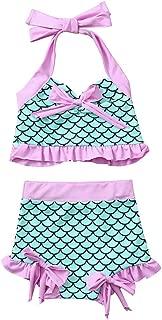 KONFA Baby Girls Swimsuit Summer Beach Bathing Suit Little Kids//Toddler Rashguard Swimwear Ruffled Tiered Romper Cover Up
