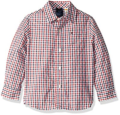 Tommy Hilfiger Boys' Adaptive Magnetic Button Shirt, Gingham Small