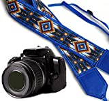 InTePro Bright Tribal Camera Strap Inspired by Native American. Blue Southwestern Ethnic Camera Strap DSLR/SLR Camera Strap. Durable, Light Weight and Well Padded Camera Strap. Code 00055