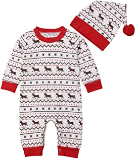 Featurestop Baby Girls One Piece Christmas Footless Long Sleeve Hat Set  Pajamas f1319d016