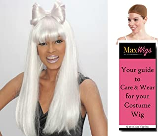 Lady Gaga color WHITE - Enigma Wigs Rocker Pop Star Bundle w/Cap, MaxWigs Costume Wig Care Guide