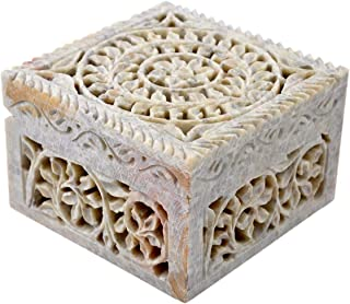 Hashcart (4 Inch Floral Carving Decorative Box for Jewellery Storage/Gift
