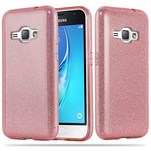 Cadorabo Hülle für Samsung Galaxy J1 2016 - Hülle in Sternenstaub PINK – TPU Silikon & Hardcase Handyhülle im Glitzer Design - Hard Hülle TPU Silikon Schutzhülle