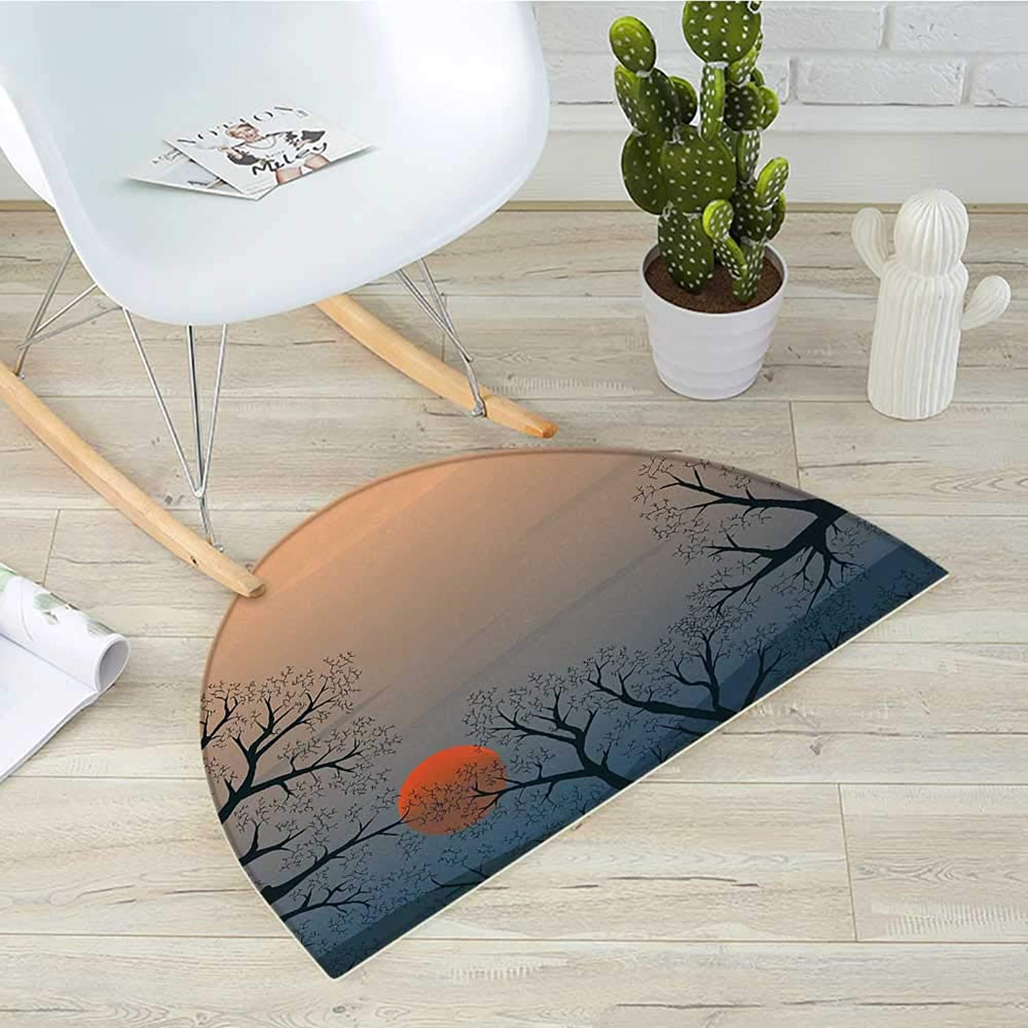 Nature Semicircular CushionSun Rises Between Tree Branches in Misty Weather Foggy Sky Illustration Entry Door Mat H 31.5  xD 47.2  Slate bluee orange Peach