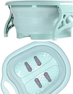 Dergo ☀Foot tub,Portable Folding Travel Foot Wash Basin Feet Spa Bubbling Massage Wheel Bath-Tub (A)