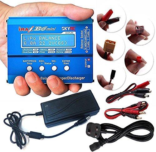 ATAIRSOFT (SKYRC iMAX B6 Mini Cargador/Cargador rápido de la balanza de la batería Profesional para Lipo Lilon Life NiCd NiMH PB baterías de RC con Adaptador de la Fuente de alimentación de DC 15V