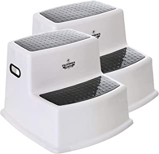 Nursery Step Stools (2-Pack), Kids Bathroom Stool, 2 Step Stool for Kids, Potty Training Step Stool, Black & White Step Stool for Toddlers, Stepping Stool for Kitchen Sink, Safe Dual Height Kids Stool