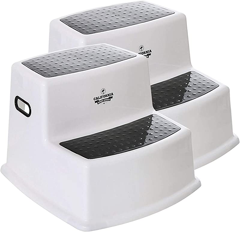 Nursery Step Stools 2 Pack Kids Bathroom Stool 2 Step Stool For Kids Potty Training Step Stool Black White Step Stool For Toddlers Stepping Stool For Kitchen Sink Safe Dual Height Kids Stool