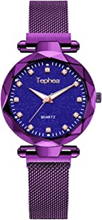 Tephea Ladies Rhinestone Fashion Casual Crystal Watch Waterproof Quartz Starry Sky Blue Dial Wrist Watch Stainless Steel Magnetic Band - TE1923