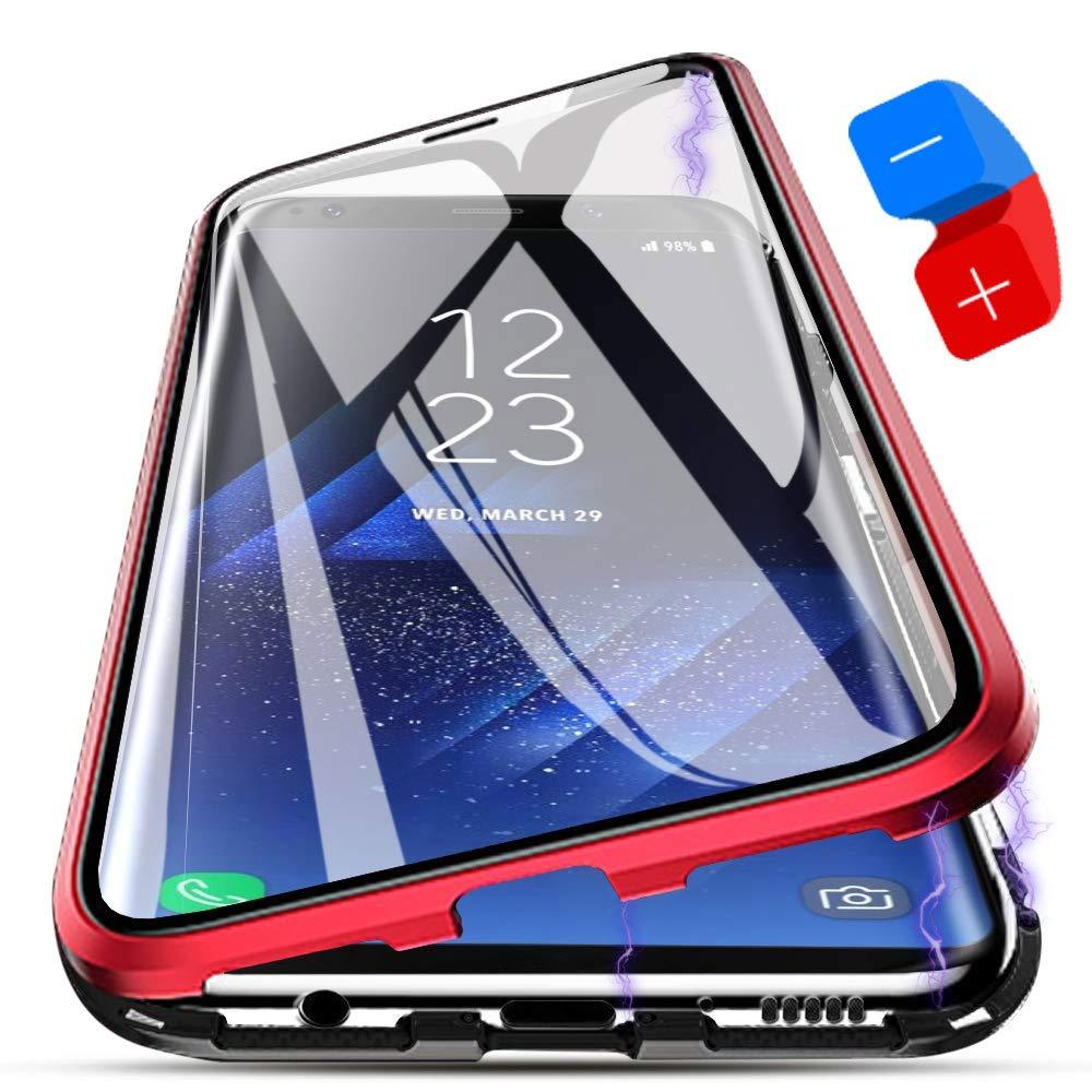 Funda Samsung Galaxy S9, [Adsorción Magnética] Marco de Metal Carcasa de Teléfono Parachoque Imanes Incorporados con Cubierta Dura de Trasera de Vidrio Templado Transparente Case Cover: Amazon.es: Electrónica