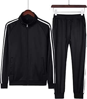 Men's Athletic Tracksuit Running Suit Two-Piece Casual Sports Clothes Full Zip Men's Three-bar Sweat Suit