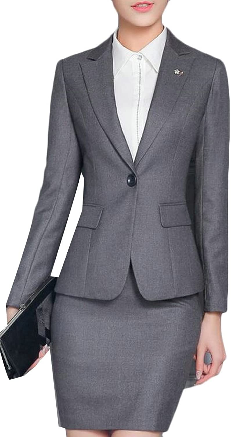 Generic Women's 2 Piece Business Skirt Suit Set Office Lady Slim Fit Blazer and Skirt