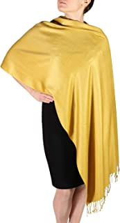 TMS Large Soft Silky Pashmina Shawl Wrap Scarf in Solid Colors Fashion Fringe