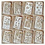 Hillento 12 piezas Dibujo de plantillas de pintura Conjuntos de plantillas de escala para el cuaderno diario de balas Insertos de papel de 8 anillos, perfecto para la creación de niños