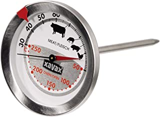 Xavax Thermomètre mécanique spécial four et viandes (2 en 1, en acier inoxydable, mesure simultanée du four et de la tempé...
