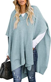 Women's Chic Turtleneck Batwing Sleeve Asymmetric Knitted Poncho Pullovers Sweater