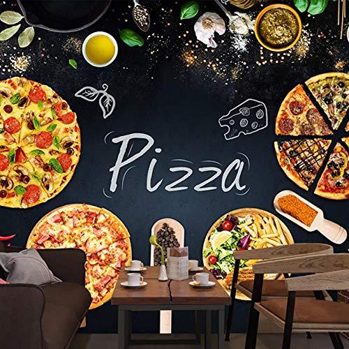 HRXBH Mural 3D Restaurante Occidental Pizza Burger Coca-Cola Beber Fondo De Pantalla Dormitorio Infantil Sala De Niños Y Niñas Sala Comedor Tv Fondo Art Deco Papel Tapiz Mural Arte(W)350x(H)256cm