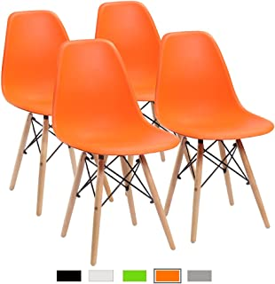 Furmax Pre Assembled Modern Style Dining Chair Mid Century Modern DSW Chair, Shell Lounge Plastic Chair for Kitchen, Dining, Bedroom, Living Room Side Chairs Set of 4(Orange)