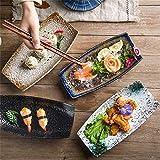 LJW estilo japonés horno vajilla de cerámica creativo bote en forma de plato de sushi kimchi cuenco platos plato plato irregular fruta ensalada postre salsa cuencos conjunto (color: # 2)   Código de p