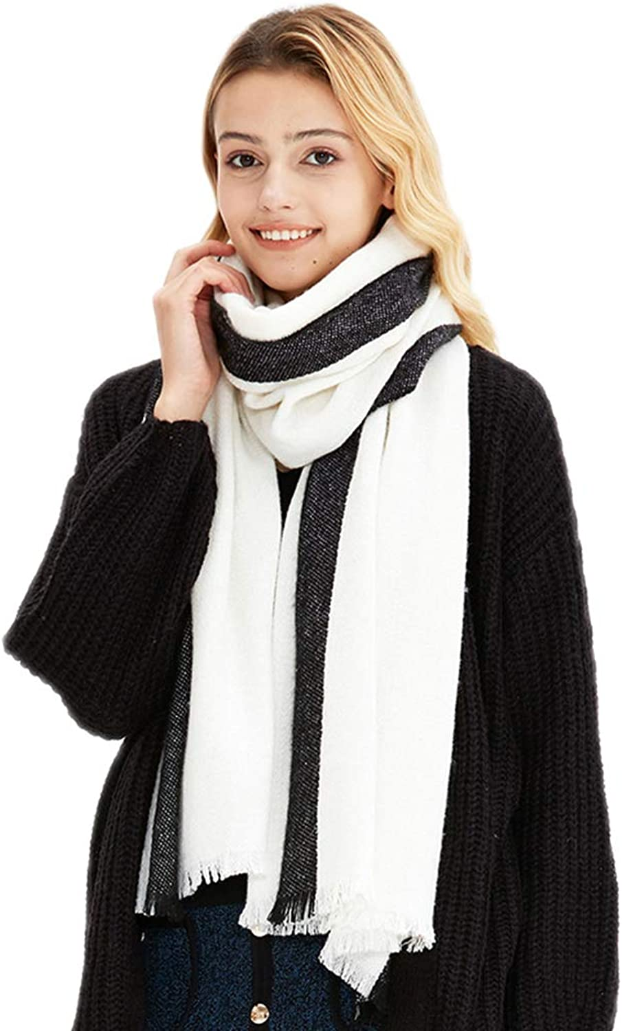 Cold Weather Scarves Fashion Scarf Ladies Scarf Student Long Scarf Winter Warm Scarf Ladies Wool Shawl Ladies Wrap Shawl Simple Wild Scarf Wraps (color   White+Black, Size   200  65cm)