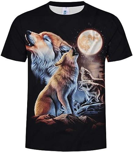 Huisongda T-Shirt à Manches Courtes Imprimé 3D Wolf pour Hommes