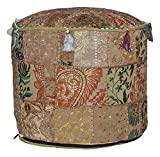 Indian Vintage Ottoman Pouf Cover ,Patchwork Ottoman, Living Room Patchwork Foot Stool Cover,Decorative Handmade Home Chair Cover 14x22x22 Inch.