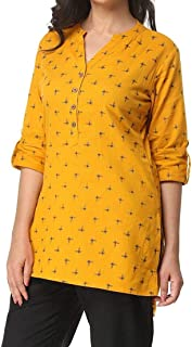 Women's Pure Cotton Printed Tunic Top 3/4 Sleeves Roll-up Button Neck Short Kurti Kurta