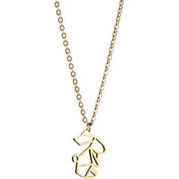 La Menagerie Rabbit Gold Origami Jewelry & Gold Geometric Necklace – 18 Karat Plated Gold Necklace & Rabbit Necklaces for Women – Rabbit Necklace for Girls & Origami Necklace