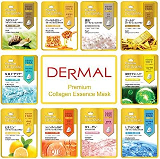 DERMAL 10 Combo Pack Premium Collagen Essence Full Face Facial Mask Sheet, The Ultimate Supreme Collection for Every Skin Condition Day to Day Skin Concerns.Silky Cellulose Mask Sheet, Korean Skincare
