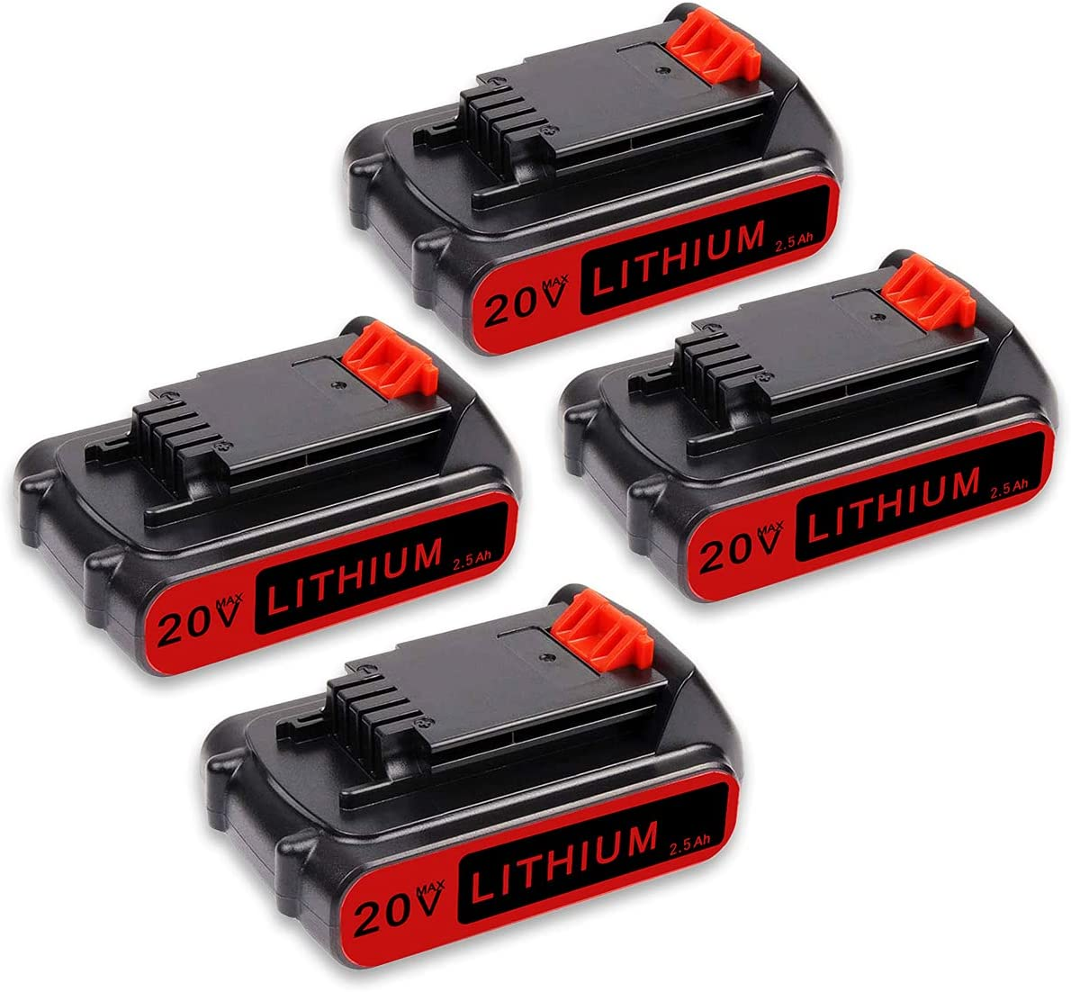 4Pack 2.5Ah 20V Special price for a limited time LBXR20 New item Battery Decker for Li Black Replacement
