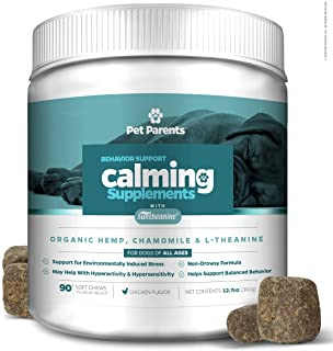 Pet Parents USA Dog Calming Treats 4g 90c + Anxiety Relief for Dogs – Organic Hemp for Dogs, Suntheanine + Nervous Dog, Pe...