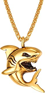 Shark/Fish/Dolphin Pendant Animal Jewelry Men Boys Necklace with Stainless Steel/Gold/Black Gun Plated/925 Sterling Silver Chain