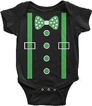 Threadrock Baby Boys' Green Tuxedo Bow Tie & Suspenders Infant Bodysuit