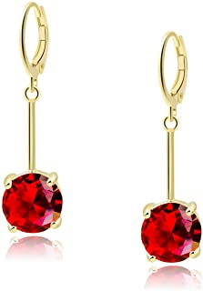 VONSSY Classic Fashion Ruby Drop Dangle Cherry Earrings for Woman with 5A CZ Gold Silver Red Gemstone Jewelry for Girls Wi...