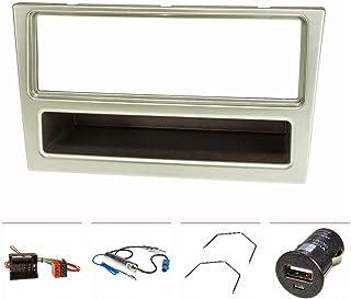 tomzz Audio 2439 075 Radioblende Set kompatibel mit Opel Corsa C Combo Omega B Vectra C Meriva matt Chrom mit Quadlockadapter ISO, Fakra Antennenadapter Phantom DIN, Entriegelungsbügel, USB Lader