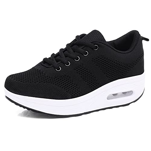Hishoes Women Slip On Comfort Walking Shoes Casual Tennis Sneakers Wedges Lightweight Air Cushion Fitness Shoes