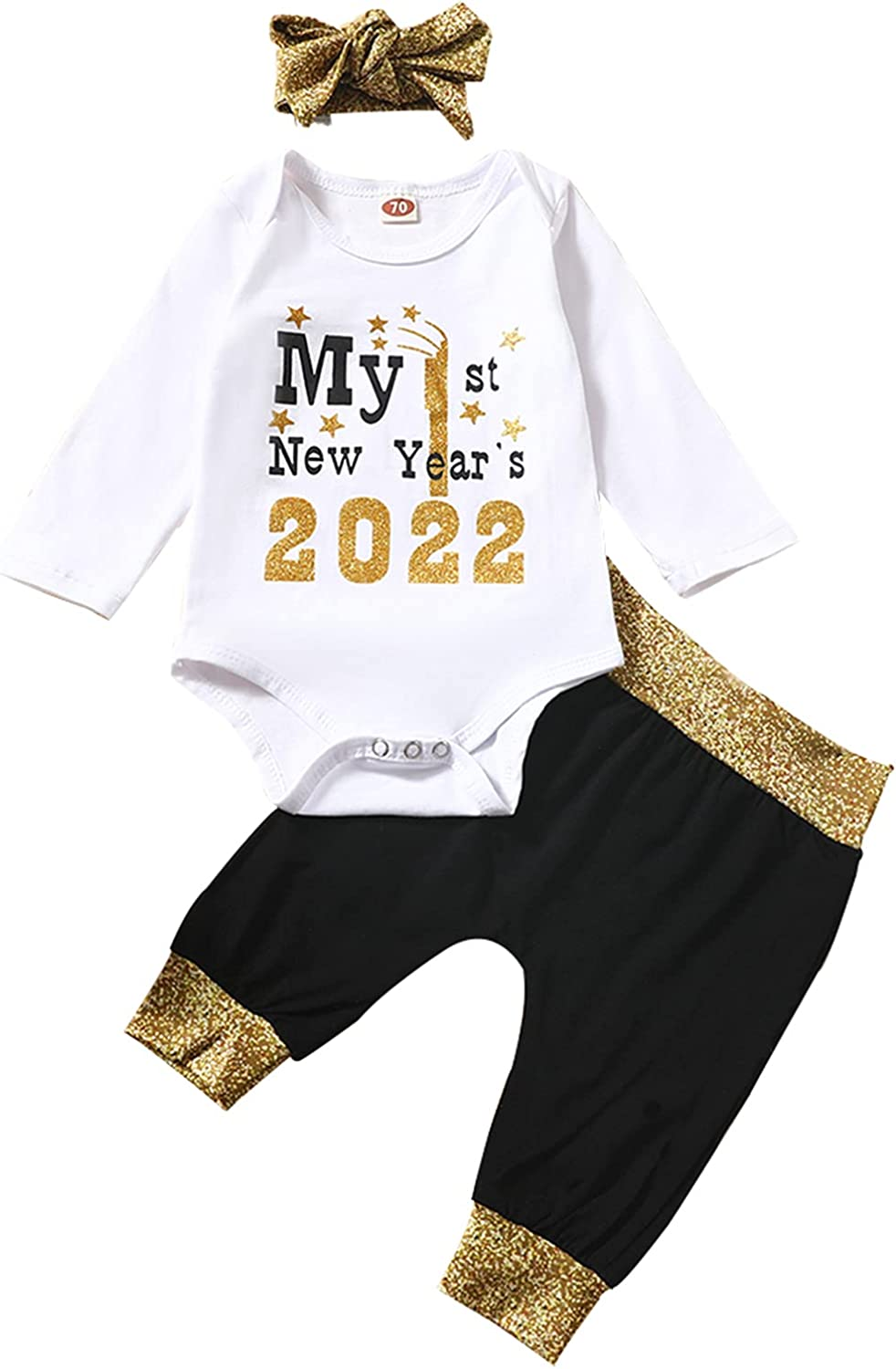 Baby Girls My First Popular overseas New Year New product!! Romper 2022 1st Outfit Pant Hea Top