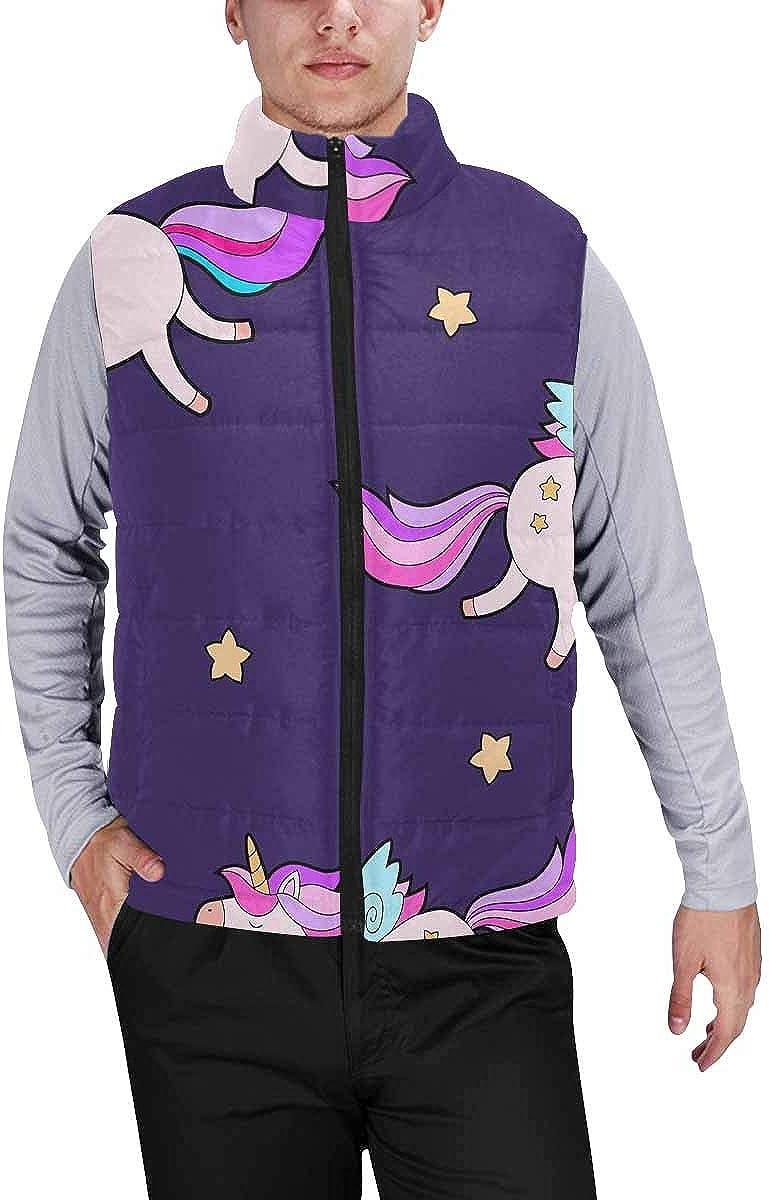 InterestPrint Lightweight Winter Padded with Full Zipper for Men Sleeping Hares Cloud Pink Background